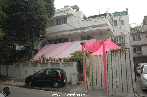 Kothi covered with Pink and White Fabric